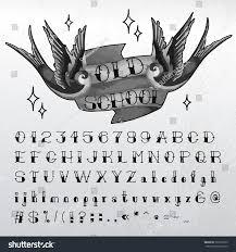 hand written oldschool alphabet traditional tattoo stock vector