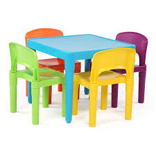 plastic table with chairs playtime kids plastic table and 4 chairs set aqua walmart com