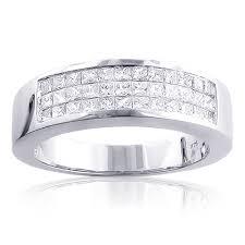 mens diamond wedding band mens diamond wedding band 1 5ct 14k gold invisible set princess cut