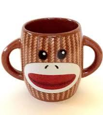 sock monkey mug ceramic coffee cup collectable brown ear handles