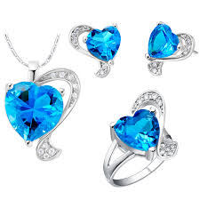 sapphire earrings necklace set images Silver color jewelry set rhinestone cubic zirconia blue heart jpg