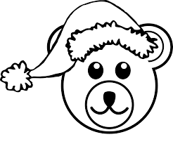 bear 3 head brown santa hat black white line teddy bear animal art