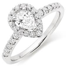 Pear Shaped Wedding Ring by Platinum Diamond Pear Shaped Halo Ring 0100765 Beaverbrooks