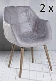 esszimmer sessel leder 6x armlehnenstuhl stuhl leder grau mit holzbeinen esszimmerstuhl