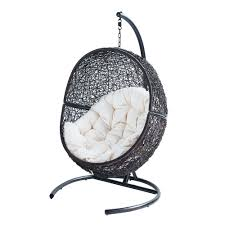 siege boule suspendu fauteuil de jardin sur pied en résine marron fauteuils de jardin