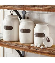 mud pie farmhouse bistro ceramic canisters with bronze plated tags