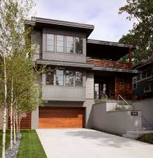 flat roof homes exterior contemporary with metal railing metal flat roof homes exterior contemporary with modern garage door gray siding