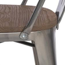 Tabouret Bistro Wood Seat Gunmetal Finish Counter Stools Set Of 2