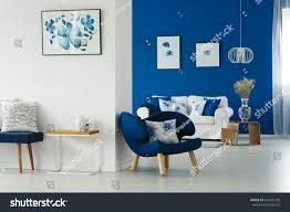Blue Livingroom Cozy Blue White Living Room Flowery Stock Photo 654536338