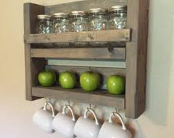 Rustic Kitchen Storage - mason jar shelf etsy