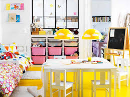 kids room classy playroom storage design with yellow bench