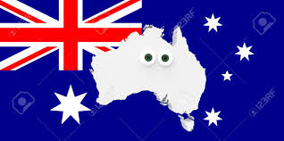 Austrslia Flag Cartoon Country Map Australia With Big Eyes Australian Flag In