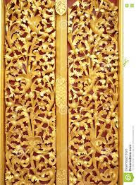 Door Design In Wood The Beautiful Gold Of Pattern Lai Kanok Thai Design In Wood