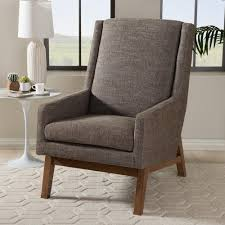 Upholstered Accent Chairs by Baxton Studio Sophia Mid Century Gray Fabric Upholstered Accent