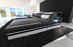 big sofa schwarz big sectional sofa monza u shaped with led lights black white ebay