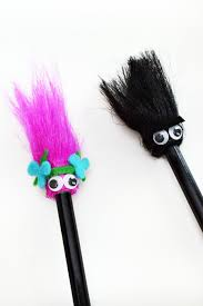 make trolls inspired pencil toppers that look like princess poppy