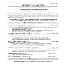 Resume For Restaurant Job by Write A Resume For A Restaurant Job