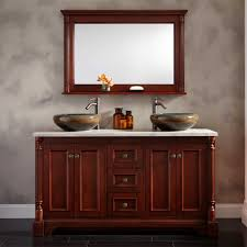 60 Trevett Double Vessel Sink Vanity Cherry Bathroom