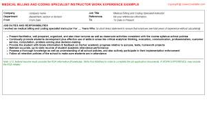 Medical Billing And Coding Job Description For Resume by Aia Billing Cv Work Experience Samples