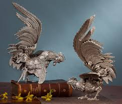 home sculptures antique silver fighting roosters sculptures home decor