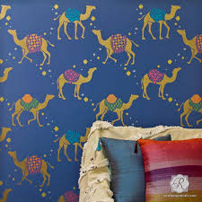 moroccan camel pattern wallpaper wall stencils for diy nursery