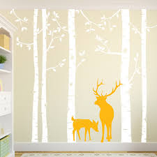 White Tree Wall Decal For Nursery Birch Tree Wall Decal With Deer Removable White Tree Wall