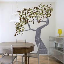 charming dining room with pleasing tree wall paint decor near