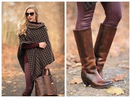 buckle up plaid poncho burgundy leather u0026 riding boots
