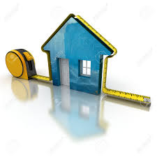3d rendering of a tape measure around a simple house stock photo