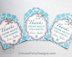 Winter Onederland Party Decorations Winter Wonderland Favor Tags Snowflake Thank You Tags Frozen