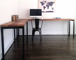 Hardwood Computer Desk L Shaped Desk Etsy