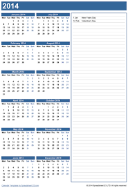 printable calendar yearly 2014 yearly calendar with notes free template for excel