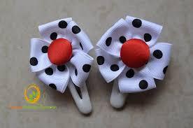 handmade hair accessories white and black polka dots hair by princess handmade