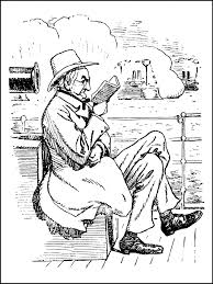 old man reading a book coloring pages