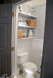 Floating Cabinets Bathroom Half Bath Reveal And Semi Floating Shelves Hometalk