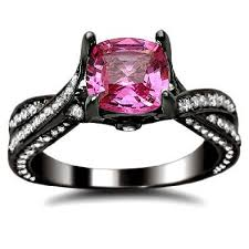 black and pink engagement rings pink sapphire cushion cut diamond engagement ring