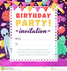 birthday party funny and cute space invitation with cartoon aliens