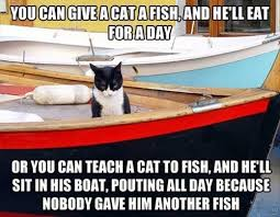 Cat Meme Boat - fishing is for chumps lolcats lol cat memes funny cats