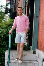 light pink mens shoes pink sweater shorts boat shoes men s fashion blog