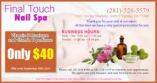 final touch nails u0026 spa nail spa in spring nail spa in 77389