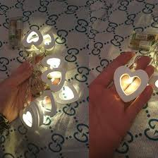 valentines lights 10 wooden heart shape string fairy lights for christmas wedding