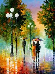 evening stroll the palette knife painting on