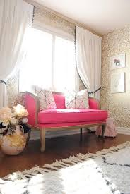 pink sofa couch home decor drapes fringe pink and gold nook