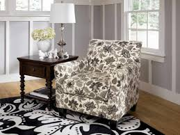 Fabric Living Room Chairs Funiture Grey Fabric Wingback Accent Chair With Cushion And