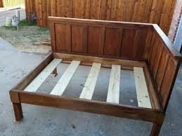 Build Wooden Bed Frame Diy Corner Wood Bed Frame With High Headboard For Ideas