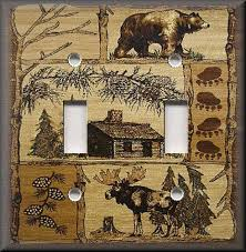 bear light switch covers metal light switch plate cover rustic bear and moose cabin decor