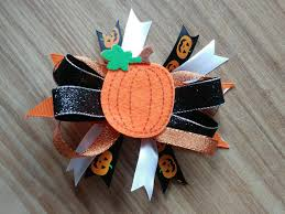 thanksgiving hair bows handmade gift for fall hair bows feltie pumpkin