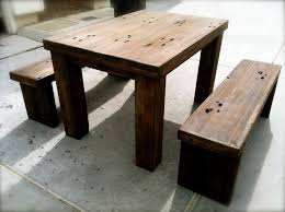 Furniture Interesting Hardwood Reclaimed Railroad Ties Dining - Square kitchen table with bench