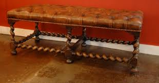 english chesterfield bench tufted leather on barley twist support