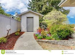 backyard small shed and flower bed view stock photo image 41425540